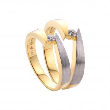 Nhẫn cưới vàng trắng kép 14k