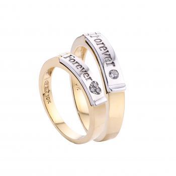 Nhẫn cưới vàng Forever 14k (khắc chữ theo yêu cầu)