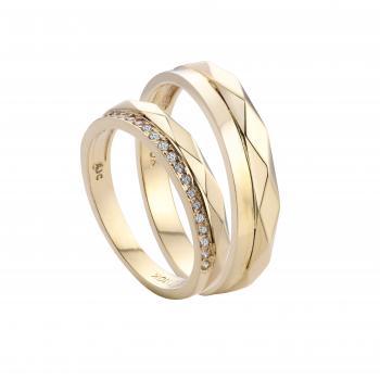 Nhẫn cưới chạm khắc nạm đá 14k