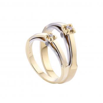 Nhẫn cưới vàng trắng hai lớp đá đơn 14k