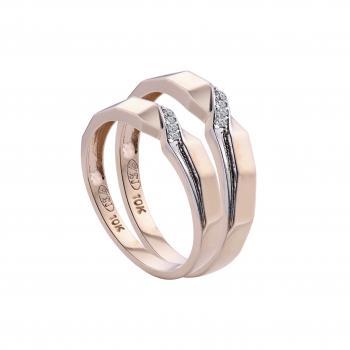 Nhẫn cưới đính đá nạm chéo 10k