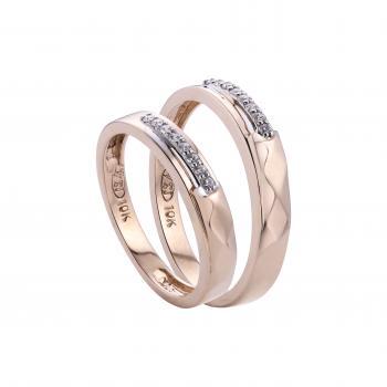 Nhẫn cưới chạm khắc mảnh nạm đá 14k