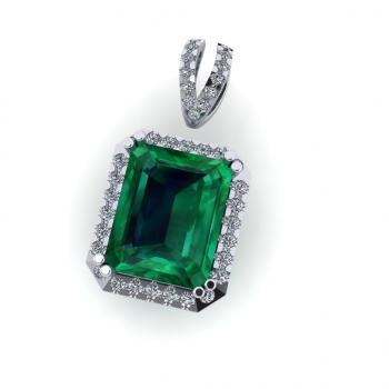Mặt dây chuyền vàng 14K đính đá Emerald