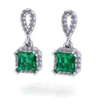 Bông tai vàng 14k đá emerald