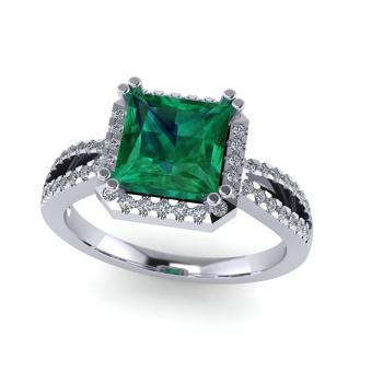 Nhẫn vàng trắng 14k đính đá Emerald