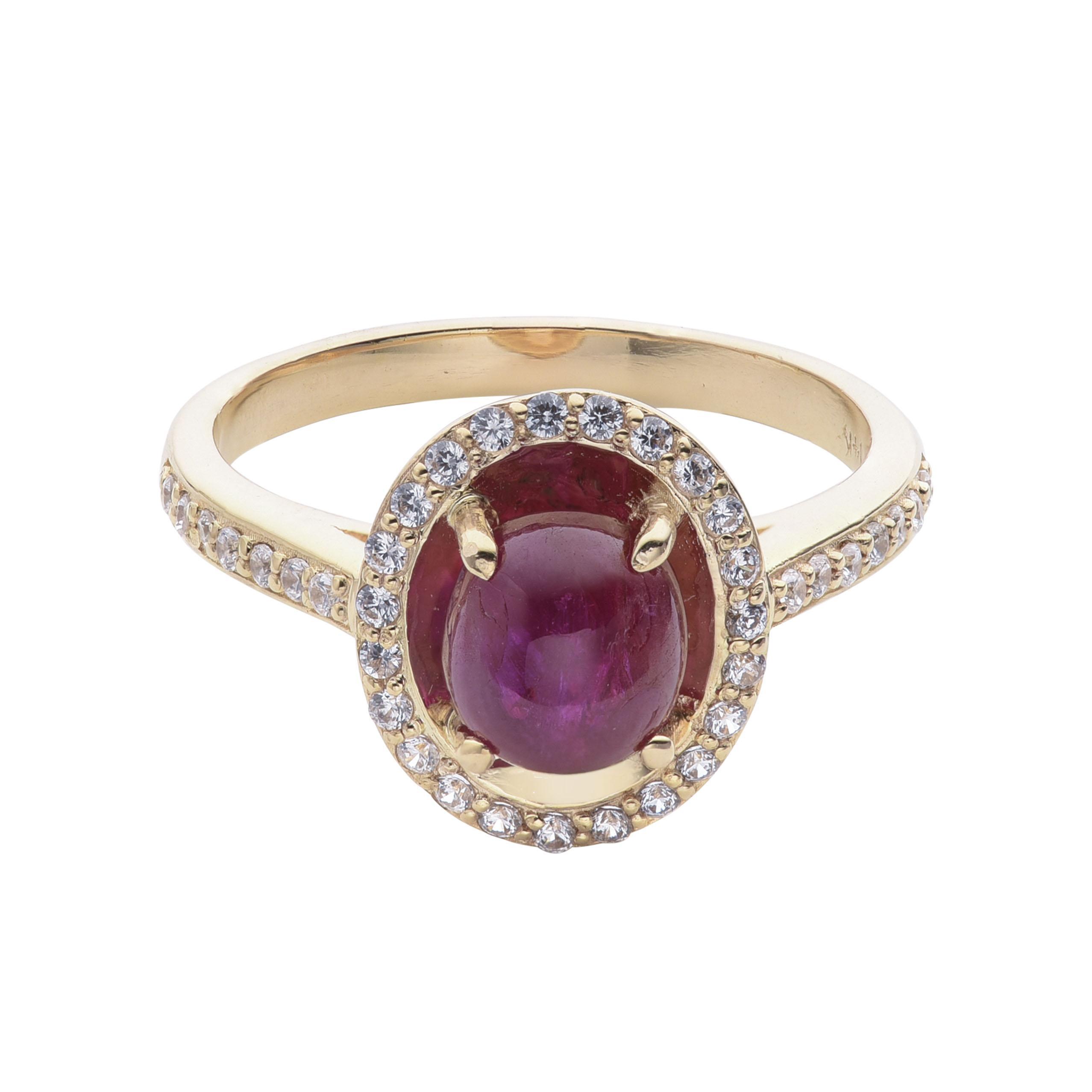 Nhẫn vàng 14K đính đá Ruby