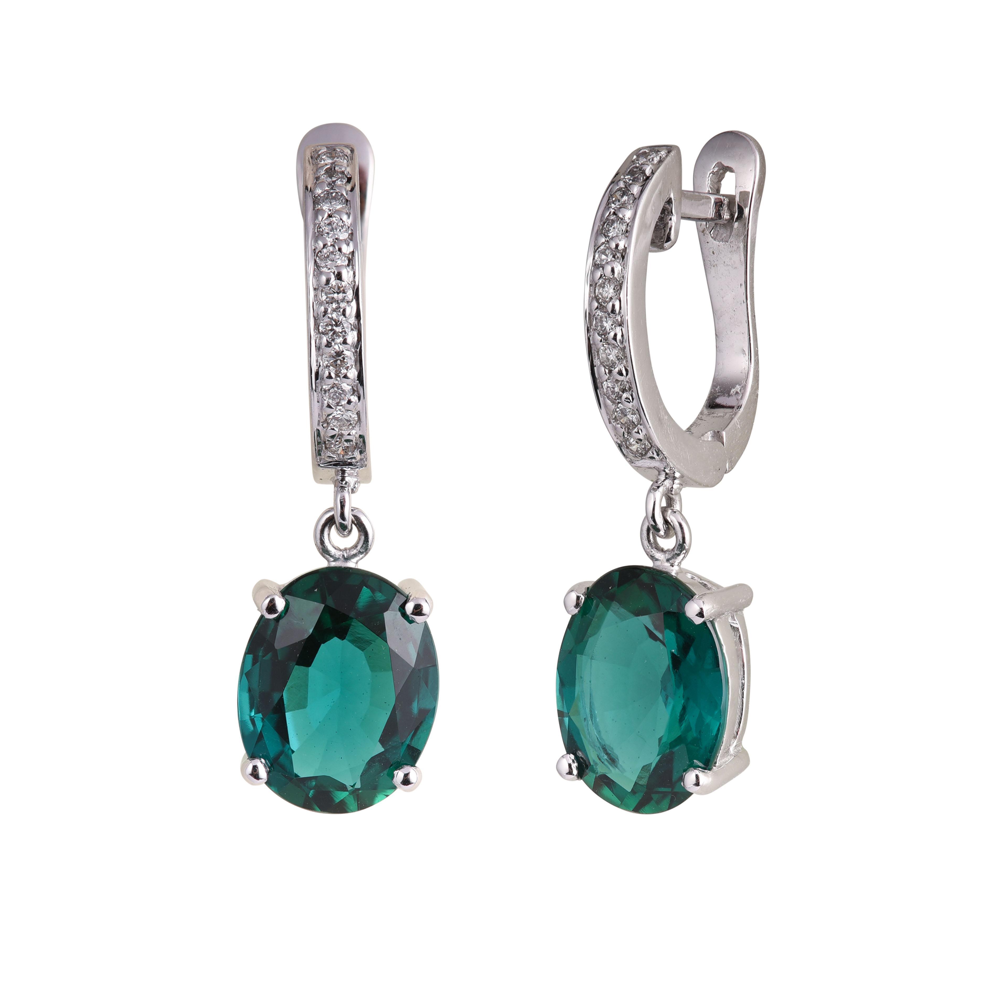 Bông tai 14k gắn đá Emerald