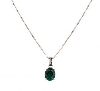 Dây chuyền vàng 14K mặt đá Emerald