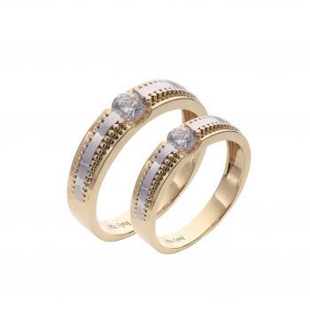 Nhẫn cưới cặp vàng Ý 18K đính đá