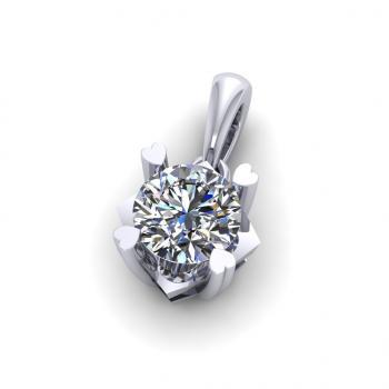 Mặt dây chuyền vàng 18K đính kim cương đá đơn