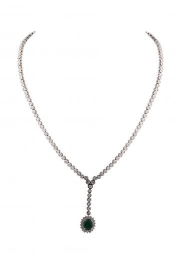 Dây chuyền kim cương 18K đá xanh