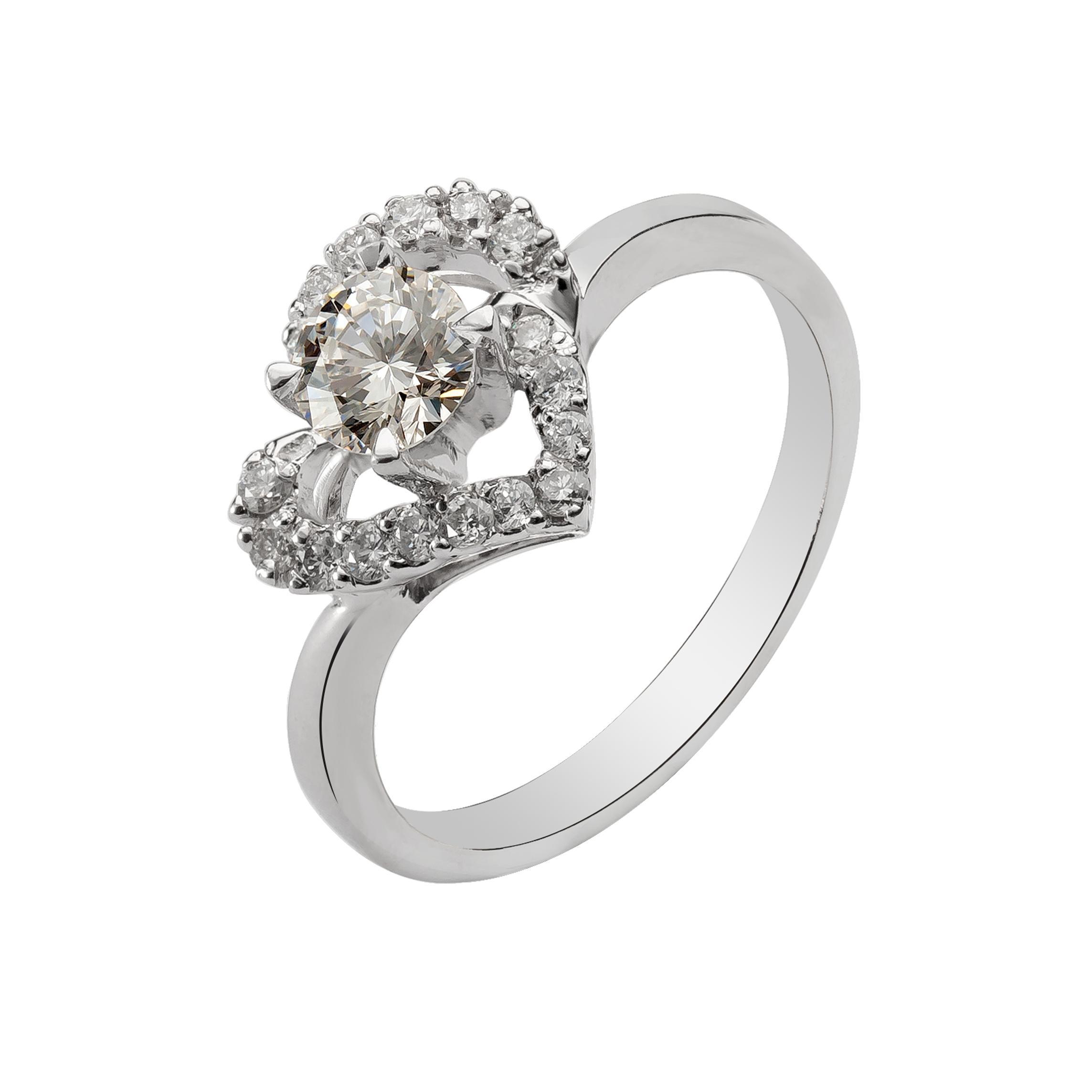 Nhẫn kim cương trái tim 18k
