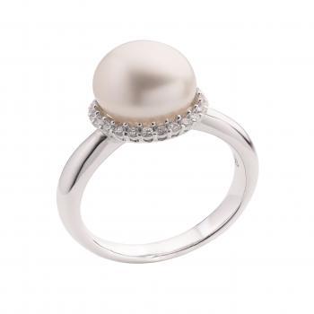 Nhẫn ngọc trai vàng ý 18K kim cương