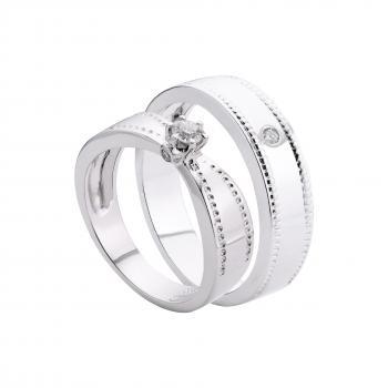 Nhẫn cưới vàng trắng 14k