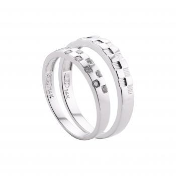 Nhẫn cưới vàng trắng 14k chấm đơn