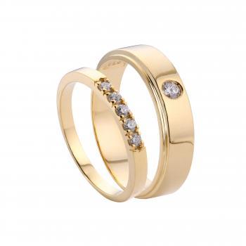 Nhẫn cưới vàng 14k gắn đá