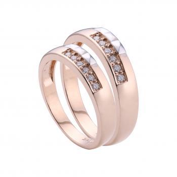 Nhẫn cưới đính đá kết bạc 14k